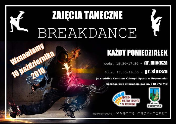 plakat ZAJECIA BreakDance 2016