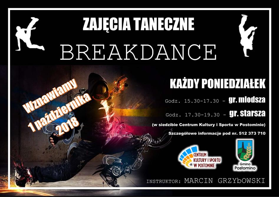 plakat ZAJECIA BreakDance 2018